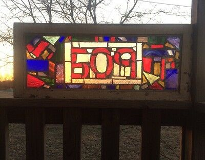 "OLD ENGLISH STAINED GLASS WINDOW Abstract Design With Number 509     32"" x 13.5"""