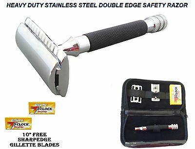 Genuine Men Safety Razor Double Edge Razors +10 Free Blades & Pouch travel kit