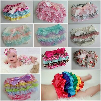 Baby Bloomers Frill Pant Ruffle Bum Nappy Cover Lace Satin Cakesmash Buy3+1 Free