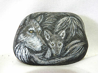 Grey Wolf & Pup Hand-Painted Stone Wolves Rock Artist Signed Gina Jennette 2002