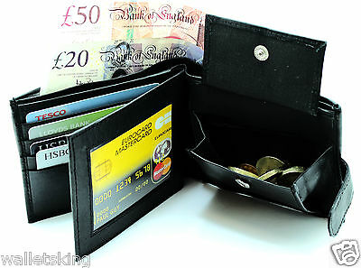 MENS SOFT GENUINE LEATHER BLACK WALLET,CREDIT CARD ID HOLDER, PURSE, POUCH 340