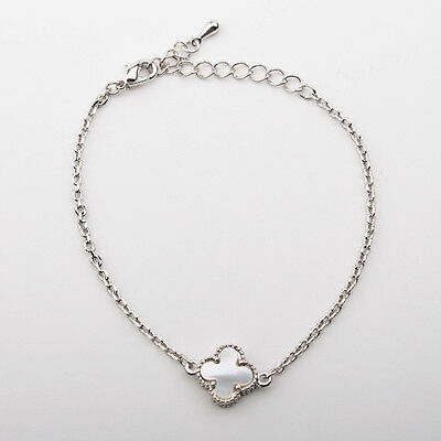 Gorgeous Small White Mother of Pearl four leaf clover Charm Bracelet-4-SS