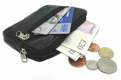 Real Leather Travel Wallet Credit Card Holder Purse Pouch  Belt Loop Coin
