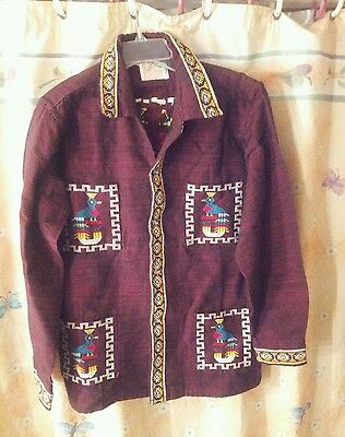 Authentic Vintage Totonicapan Guatemala Hand Embroidered. Shirt. TRUE VINTAGE.
