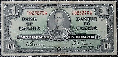 BANK OF CANADA - 1937 $1 NOTE - PREFIX Y/L - Signed Gordon & Towers - NCC