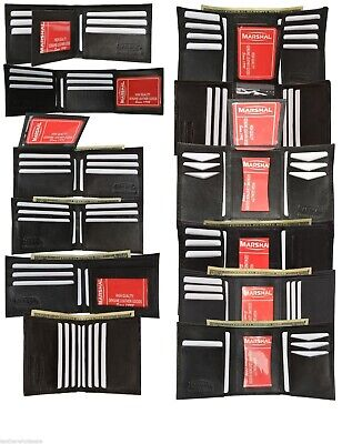 Marshal Mens Black Leather Bifold / Trifold Wallet Wholesale Lot 12 Wallets