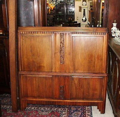 Beautiful French Antique Art Deco Walnut Full Size Bed