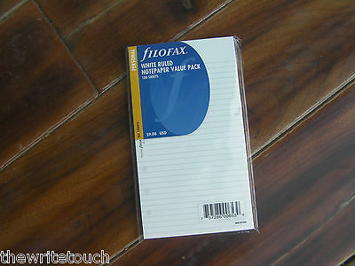 FILOFAX Personal White Ruled Note Paper- 100 Sheets - 133047