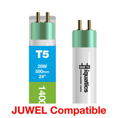 3 x iQuatics 28w JUWEL Compatible T5 White Marine 14000K-Ideal for Coral growth