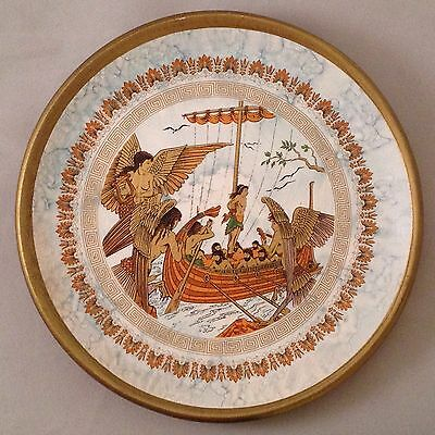 Odysseus and the Sirens terra cotta hanging decorator plate hand made in Greece