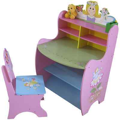 GIRLS WOODEN PINK DESK and CHAIR SET Fairy Princess themed bedroom furniture