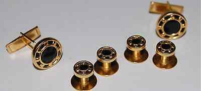NEW Gold Black Wagon Wheel Tuxedo Cufflinks Shirt Studs Set Tux Cuff Links