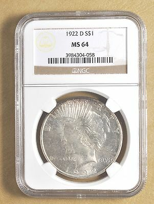 1922 D Silver Peace Dollar NGC MS 64