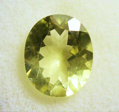 VERY NICE 12 x 10 mm OVAL CUT 3.57 cts LEMON QUARTZ BRAZIL # 9
