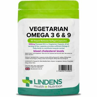 Vegetarian Omega 3 6 & 9 - contains 1000mg Flax Seed Oil - 90 Capsules - Lindens