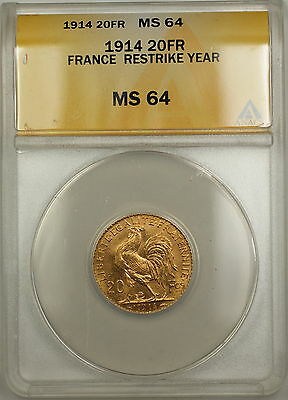 1914 Restrike Year France 20 Fr Francs Gold Coin ANACS MS-64
