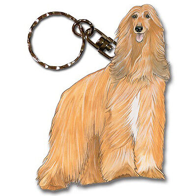 Afghan Hound Wooden Dog Breed Keychain Key Ring