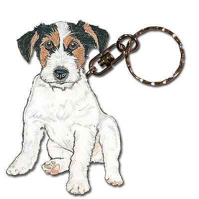 Jack Russell Terrier Keychain Wooden Key Ring Wirehair