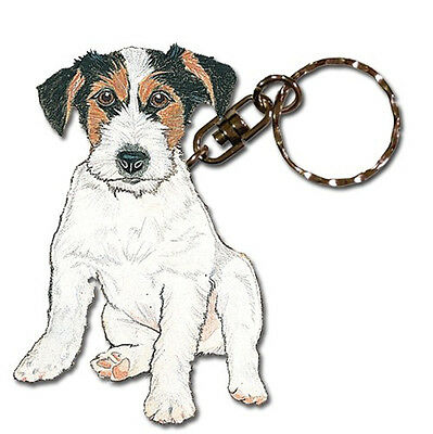 Jack Russell Terrier Wirehair Wooden Dog Breed Keychain Key Ring
