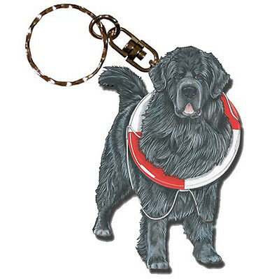 Newfoundland Wooden Dog Breed Keychain Key Ring