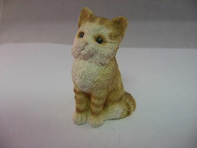 """Very Cute White and Brown Cat Kitty Made in USA ~ 2.3"""" Tall ~"""