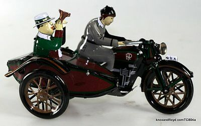Motorcycle & Sidecar Model  Finely Crafted Tin Replica Bike  Wind Up & Goes Too!
