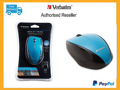 ($0 P&H) Genuine Verbatim Wireless Desktop Optical Ergo Mouse Blue Reorder 97593