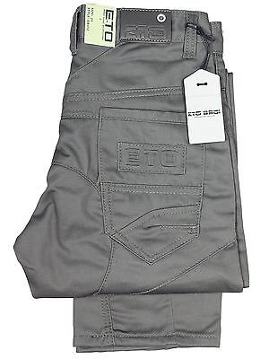 Boys Kids Jeans Eto Eb452 Grey Straight Leg All Designer Pants Reduced Sale
