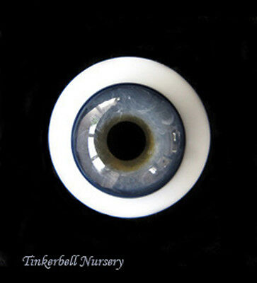 20mm SOLID LAUSCHA FA BLUE/GREY GLASS EYES - TINKERBELL NURSERY for reborn kits