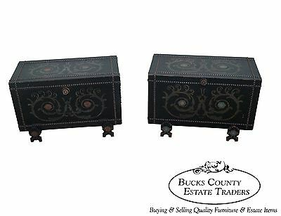 Unusual Antique Pair of Studded Hand Painted Chests
