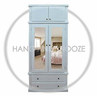 Hand Made Dewsbury Furniture Mirrored Shelved Wardrobe With Topbox(Assembled)