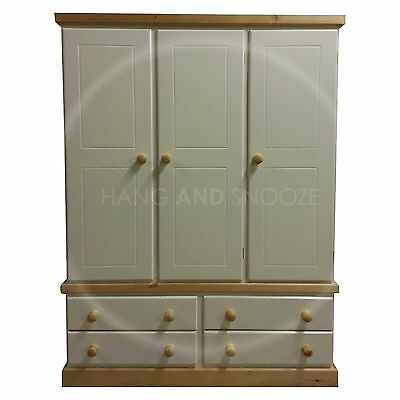 Hand Made Cambridge  Country Triple  4 Drawer Wardrobe Shelved (Assembled)