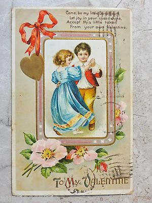 Vintage c. 1912 Embossed Postcard: To My Valentine--Young Boy & Girl Dancing