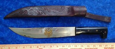 MADE IN EL SALVADOR LONG FIXED BLADE KNIFE & DECORATIVE LEATHER SHEATH STIDHAM