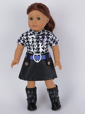 "Doll Clothes 18"" Dress Leather Black Boots Fits American Girl Doll"