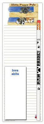 Akita Dog Notepads To Do List Pad Pencil Gift Set Puppies
