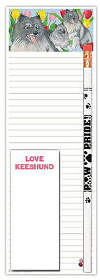 Keeshond Dog Notepads To Do List Pad Pencil Gift Set