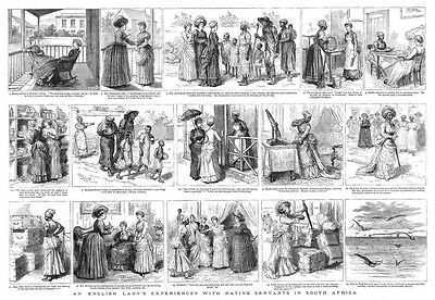 SOUTH AFRICA English Lady's Experiences with Native Servants -Antique Print 1885