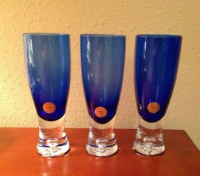 NEW RARE Block Crystal Cobalt Blue Stockholm Trapped Bubble Water Goblet Glasses