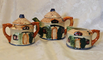TEA SET-3PC-CERAMIC HAND PAINTED-CREAMER & SUGAR BOWL-TEA POT-JAPAN-MINT!