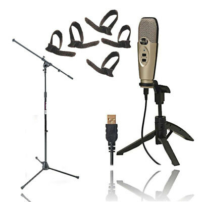 CAD U37 USB Studio Condenser Vocal Recording Microphone +Mic Stand+Cable Ties