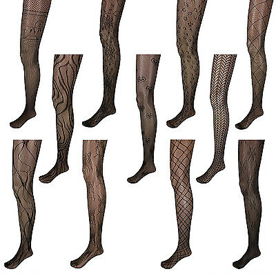 Black Unique Pattern Net Lace Stockings Fishnet Tights Pantyhose Nylons