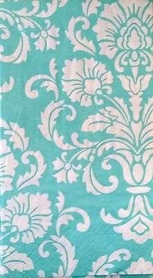THREE (3) Turquoise Damask Paper Hostess Napkins for Decoupage and Paper Crafts