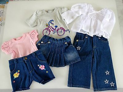 """NEW-DOLL Denim Pants/Skirt/Shorts/Tops Sets-Lot 123_fit 18"""" Doll such as AG Doll"""