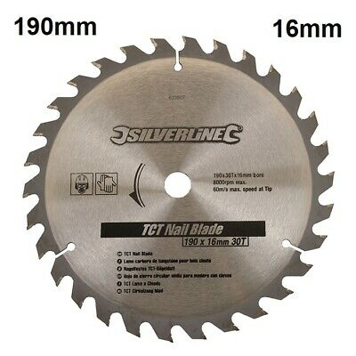 TCT Circular Saw Nail Blade 30T 190mm x 16mm Saw Wood with Metal Cutting Fits 9""