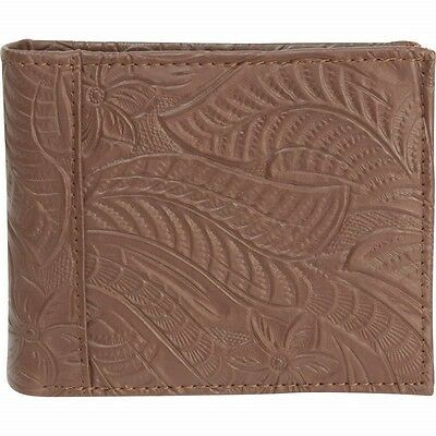 Mens Embossed Brown Leather Bifold Wallet Credit ID Cards Holder Billfold Money