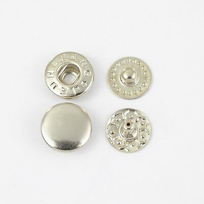 90 S-Spring Push buttons VT-2 / 10mm silver, for Spindle press, Textile, Cloth
