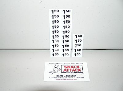 (25) SNACK VENDING MACHINE $1.50 / $1.55 PRICE LABELS - Free Ship!
