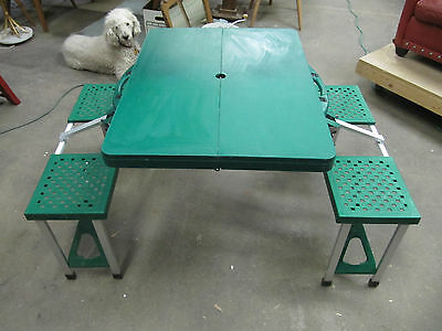 Vintage Portable Picnic Table/Chair Folding Suitcase Camping Set Green