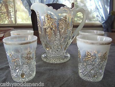 Rare Eapg Northwood French Opalescent Paneled Holly Water Pitcher & Tumbler Set